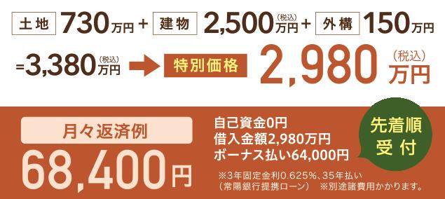 土地730万円+建物2,500万円+外構150万円=3,380万円(税込)のところ、特別価格